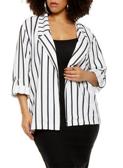 Plus Size Striped Blazer - 3927056579006