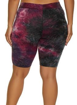 Plus Size Tie Dye Soft Knit Bike Shorts | 3927061352488 - 3927061352488