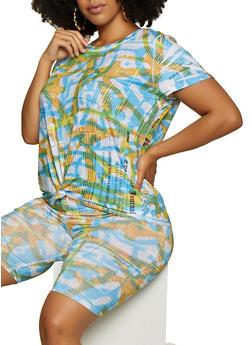Plus Size Tie Dye Newspaper Print Top - 3927061355107