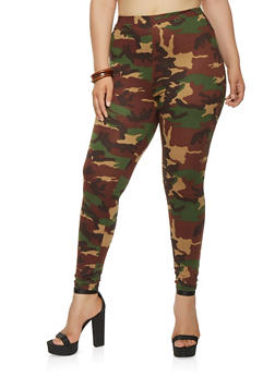 Plus Size Soft Knit Camo Leggings - 3927061356295