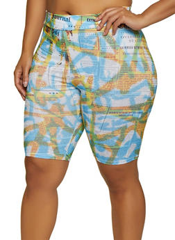 Plus Size Tie Dye Newspaper Print Bike Shorts - 3927061356324
