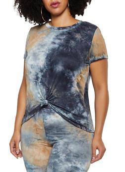 Plus Size Tie Dye Soft Knit Tee | 3927061359899 - 3927061359899