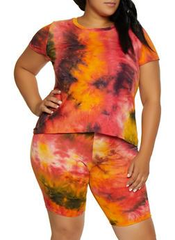 Plus Size Soft Knit Tie Dye T Shirt - 3927061359933