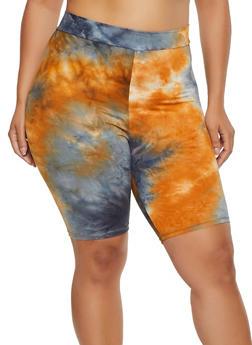 Plus Size Tie Dye Soft Knit Bike Shorts | 3927061359963 - 3927061359963