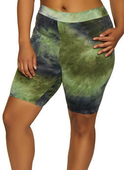 Plus Size Tie Dye Soft Knit Bike Shorts | 3927061359963 - 3927061359963