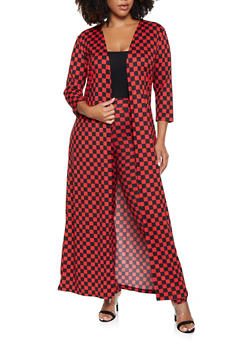 Plus Size Checkered Duster and Leggings Set - RED - 3927062702924