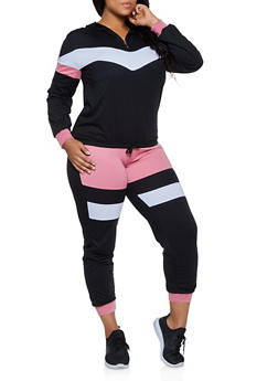 Plus Size Half Zip Sweatshirt with Joggers - 3927062709330
