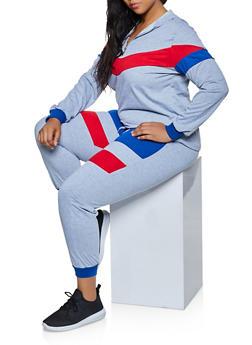 Plus Size Half Zip Sweatshirt with Joggers - 3927062709330