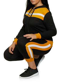 Plus Size Color Block Sweatshirt and Joggers Set - 3927062709334