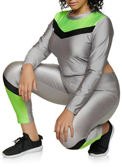 Plus Size Color Block Spandex Top and Leggings - 3927062709340