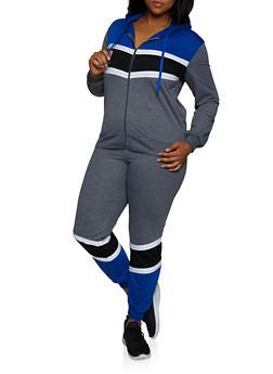 Plus Size Color Block Zip Sweatshirt and Joggers Set - 3927062709344