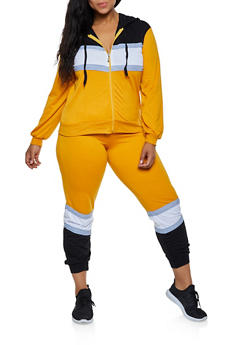 Plus Size Color Block Zip Sweatshirt and Joggers Set - 3927062709344