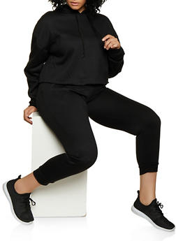 Plus Size Pullover Sweatshirt with Joggers - 3927062709347