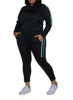 Plus Size Varsity Stripe Track Jacket and Pants Set - 3927062709360