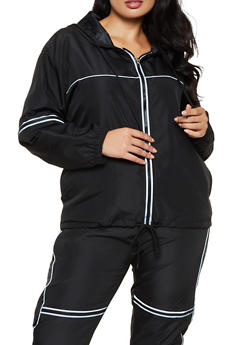 Plus Size Hooded Windbreaker - 3927063401160