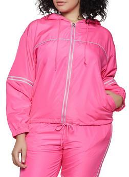 Plus Size Hooded Windbreaker - 3927063401160