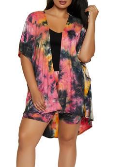 Plus Size Tie Dye Soft Knit Kimono - 3927063406588