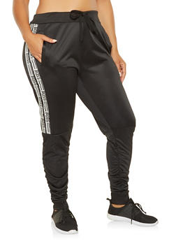 Plus Size Boss Graphic Ruched Joggers - 3927063407563