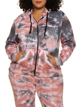 Plus Size Tie Dye Zip Front Sweatshirt - 3927063407711
