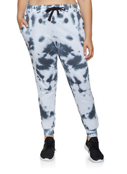 Plus Size Tie Dye Fleece Lined Joggers - 3927063407722