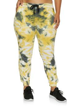 Plus Size Tie Dye Fleece Lined Joggers - 3927063407722