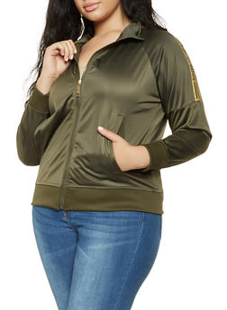 Plus Size Boss Graphic Track Jacket - 3927063408563
