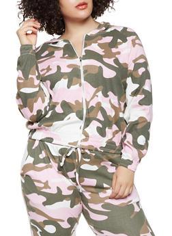 Plus Size Camo Zip Up Sweatshirt - 3927063408892