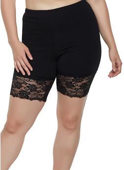 Plus Size Lace Trim Textured Knit Bike Shorts - Black - Size 1X - 3927068511757