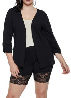 Plus Size Ruched Sleeve Open Front Blazer - 3927068513809
