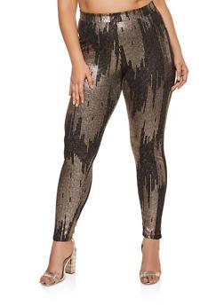 Plus Size Glitter Knit Leggings - 3927069390959