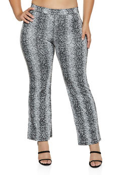 Plus Size Snake Print Pintuck Pants - 3927069395307