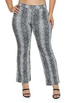 Plus Size Snake Print Pintuck Pants - 3927069395307
