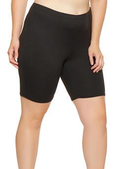 Plus Size Solid Bike Shorts - 3927072240671