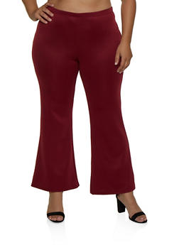 Plus Size Scuba Flared Pants - 3927072241964