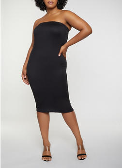 Plus Size Tube Soft Knit Dress - 3927072242771