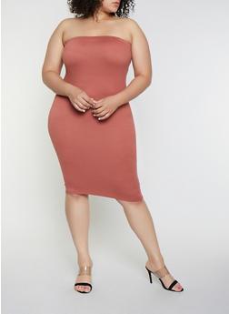 Plus Size Tube Soft Knit Dress - 3927072242771