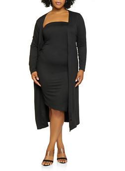 Plus Size Black Spandex Knit Dress