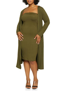 Plus Size Soft Knit Duster - 3927072246589