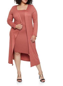 Plus Size Soft Knit Duster - 3927072246589