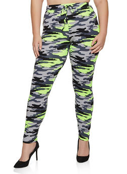 Plus Size Camo Soft Knit Pants - 3927072290013