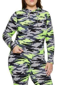 Plus Size Pullover Camo Top - 3927072290014