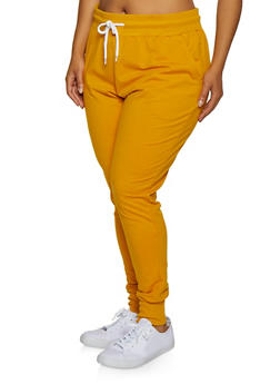 Plus Size French Terry Lined Solid Joggers - 3927072290057