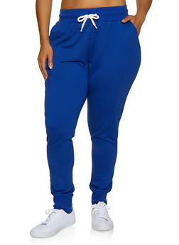 Plus Size Solid French Terry Lined Joggers - 3927072290058