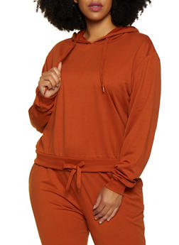 Plus Size Drawstring Hem Sweatshirt - 3927072290059