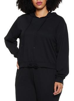 Plus Size Drawstring Hem Pullover Sweatshirt - 3927072290060