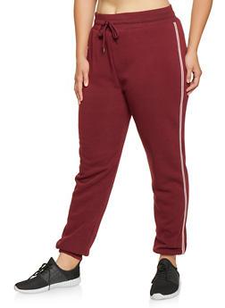 Plus Size Striped Tape Sweatpants - 3927072290102
