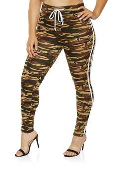 Plus Size Varsity Stripe Leggings - HUNTER - 3927072290130