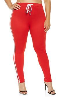 Plus Size Varsity Stripe Leggings - 3927072290130