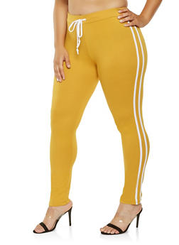 Plus Size Varsity Stripe Leggings - 3927072290130