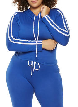 Plus Size Varsity Stripe Hooded Top - 3927072290131